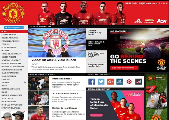 Official Manchester United Website — главная страница