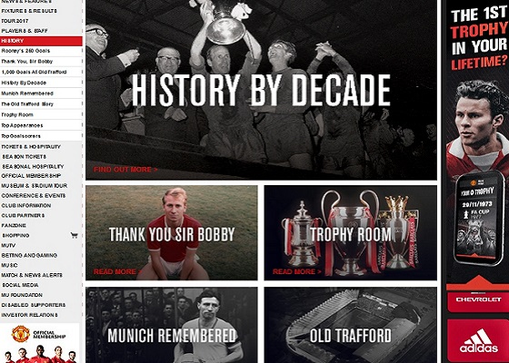 Official Manchester United Website — история Манчестер Юнайтед