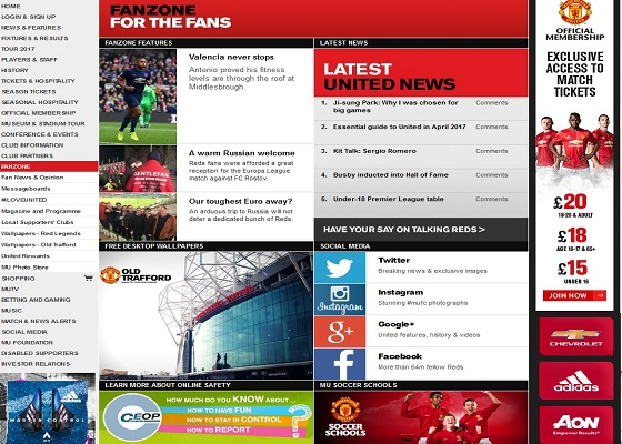 "Official Manchester United Website - Вкладка ""Fanzone"""