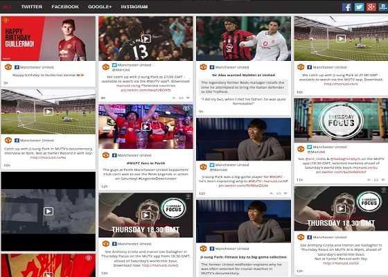"""Официальный сайт Манчестер Юнайтед - Вкладка """"Social Media"""""""